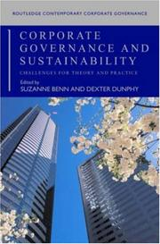Cover of: Corporate Governance and Sustainability