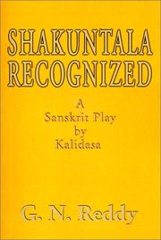 Cover of: Shakuntala Recognized: A Sanskrit Play