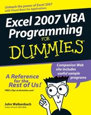 Cover of: Excel 2007 VBA Programming For Dummies (For Dummies (Computer/Tech))