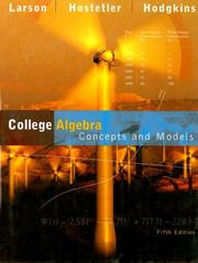 Cover of: College Algebra Concepts and Models