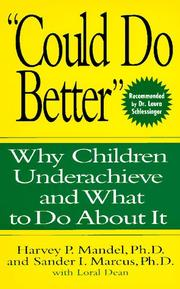 "Cover of: ""Could Do Better"""