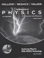 Cover of: Fundamentals of Physics, , Instructor Lab Manual with CD