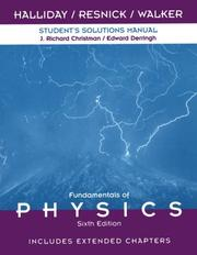 Cover of: Student Solutions Manual to Accompany Fundamentals of Physics 6th Edition, Includes Extended Chapters