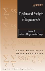 Cover of: Design and Analysis of Experiments, Advanced Experimental Design (Wiley Series in Probability and Statistics)