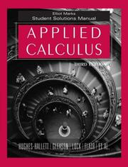Cover of: Applied Calculus, Student Solutions Manual