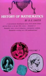 Cover of: History of mathematics: Vol. 1