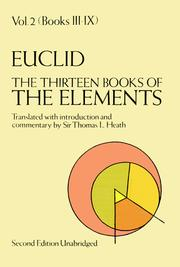 Cover of: The Thirteen Books of the Elements (Euclid, Vol. 2--Books III-IX)