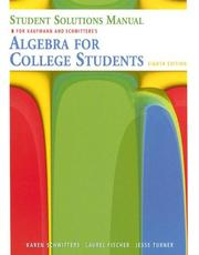 Cover of: Student Solutions Manual for Kaufmann/Schwitters' Algebra for College Students, 8th