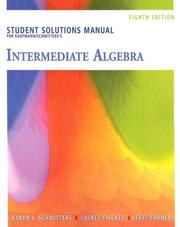 Cover of: Student Solutions Manual for Kaufmann/Schwitters' Intermediate Algebra, 8th