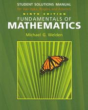 Cover of: Student Solutions Manual for Van Dyke/Rogers/Adam's Fundamentals of Mathematics, 9th