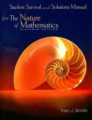Cover of: Student Survival and Solutions Manual for Smith's Nature of Mathematics, 11th