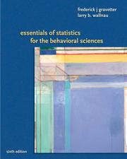 Cover of: Essentials of Statistics for the Behavioral Science