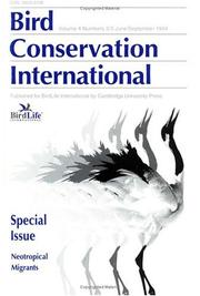 Cover of: Bird Conservation International Special Issue: Neotropical Migrants