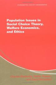 Cover of: Population Issues in Social Choice Theory, Welfare Economics, and Ethics (Econometric Society Monographs)