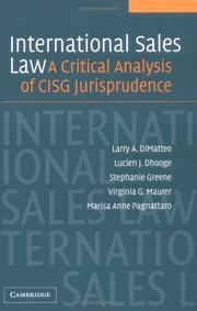 Cover of: International Sales Law: A Critical Analysis of CISG Jurisprudence