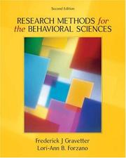 Cover of: Research Methods for the Behavioral Sciences