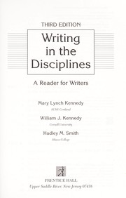 Cover of: Writing in the Disciplines: A Reader for Writers