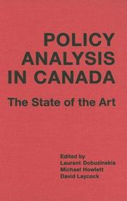 Cover of: Policy analysis in Canada