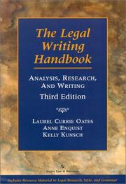 Cover of: The Legal Writing Handbook