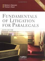 Cover of: Fundamentals of Litigation for Paralegals