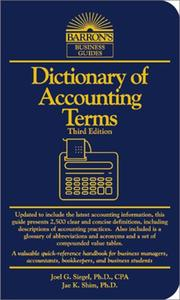 Cover of: Dictionary of Accounting Terms