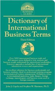 Cover of: Dictionary of International Business Terms (Barron's Business Dictionaries)