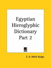 Cover of: Egyptian Hieroglyphic Dictionary, Part 2