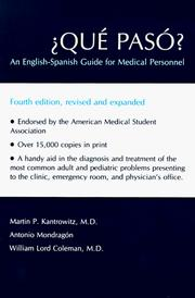 Cover of: ¿Que Paso?: An English-Spanish Guide for Medical Personnel