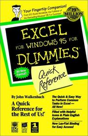 Cover of: Excel for Windows 95 for dummies: quick reference