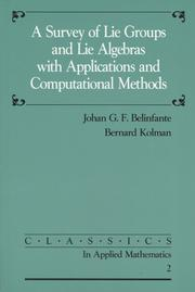 Cover of: A Survey of Lie Groups and Lie Algebra with Applications and Computational Methods (Classics in Applied Mathematics)