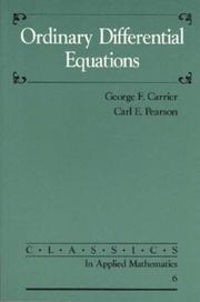 Cover of: Ordinary Differential Equations (Classics in Applied Mathematics)