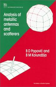 Cover of: Analysis of Metallic Antennas and Scatters (Ieee Electromagnetic Waves Series)