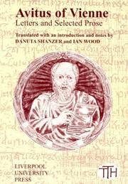 Cover of: Avitus of Vienne, letters and selected prose