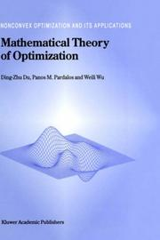 Cover of: Mathematical Theory of Optimization (Nonconvex Optimization and Its Applications)