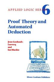 Cover of: Proof Theory and Automated Deduction (Applied Logic Series)
