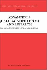 Cover of: Advances in quality-of-life theory and research