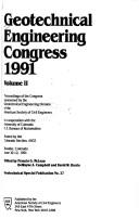 Cover of: Geotechnical Engineering Congress 1991