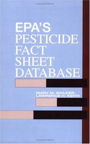 Cover of: EPA'S Pesticide Fact Sheet Database