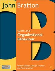Cover of: Work and Organizational Behaviour