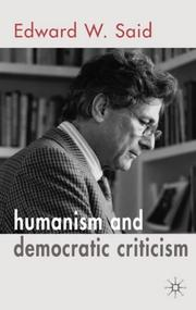 Cover of: Humanism and Democratic Criticism