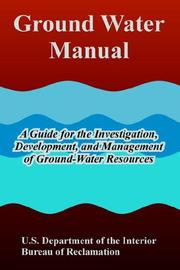 Cover of: Ground Water Manual