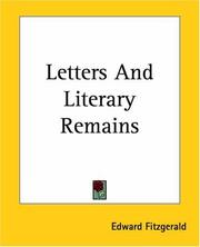 Cover of: Letters And Literary Remains