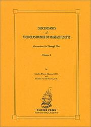 Cover of: Descendants of Nicholas Humes of Massachusetts, Volume 2