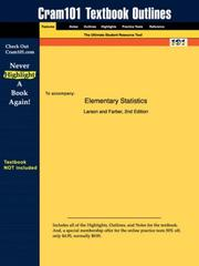 Cover of: Elementary Statistics (Cram101 Textbook Outlines - Textbook NOT Included)