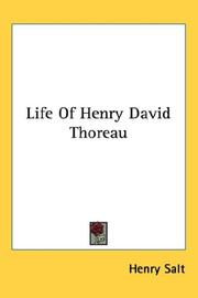 Cover of: Life Of Henry David Thoreau