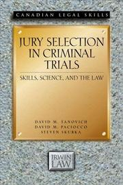 Cover of: Jury Selection in Criminal Trials