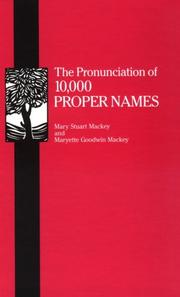 Cover of: Pronunciation of 10,000 Proper Names