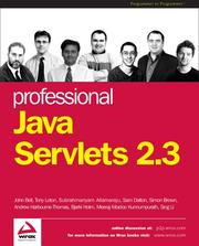 Cover of: Professional Java Servlets 2.3
