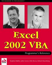 Cover of: Excel 2002 VBA Programmers Reference