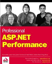 Cover of: Professional ASP.NET Performance